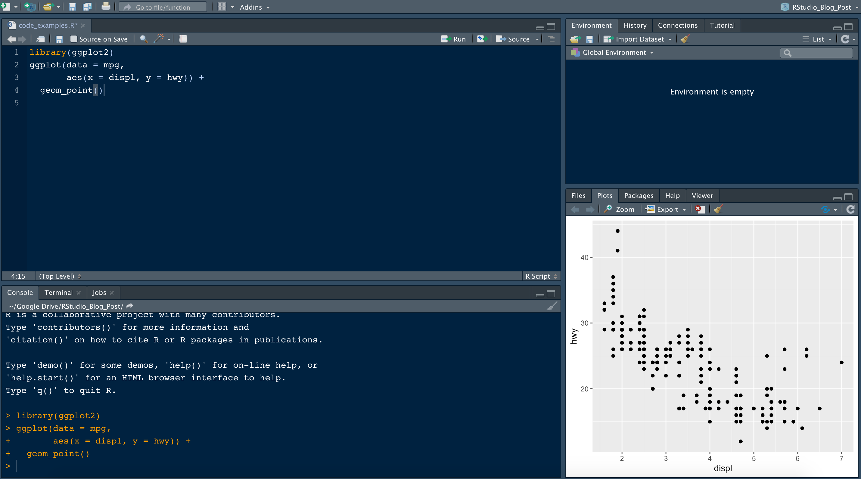 RStudio Layout